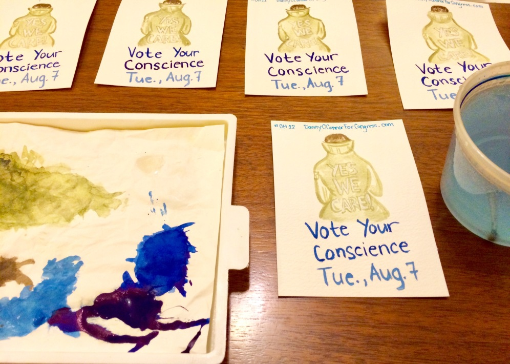 """Postcards to Voters,"" 07.2018. Materials include watercolor, gouache, and ink on paper."