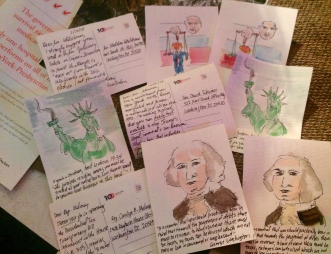 """Resistance Soup: Postcards to Senators,"" Chinatown Soup, 02.03.17. Materials include watercolor and ink on paper."